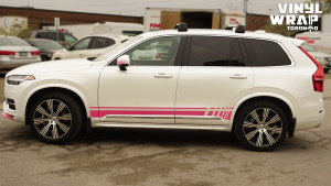 Volvo XC90 - Hot Pink Decals - Racing Stripes - Avery Dennison - Lettering & Decals - Best Car Wrap in Toronto - Vinyl Wrap Toronto - Side