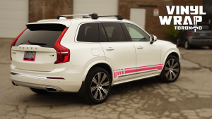 Volvo XC90 - Hot Pink Decals - Racing Stripes - Avery Dennison - Lettering & Decals - Best Car Wrap in Toronto - Vinyl Wrap Toronto - Back Side