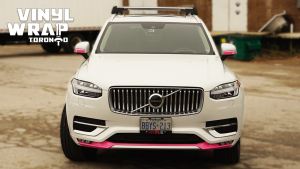 Volvo XC90 - Hot Pink Decals - Racing Stripes - Avery Dennison - Lettering & Decals - Best Car Wrap in Toronto - Vinyl Wrap Toronto - Front