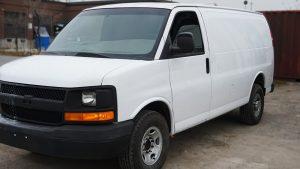 Chevrolet Express 2010 - VinylWrapToronto.com - Full Van Wrap - RockBottom Cosntuction - Custom Vehicle Wrap - Avery Dennison - Before