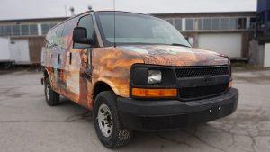 Chevrolet Express 2010 - VinylWrapToronto.com - Full Van Wrap - RockBottom Cosntuction - Custom Vehicle Wrap - Avery Dennison - Front Side