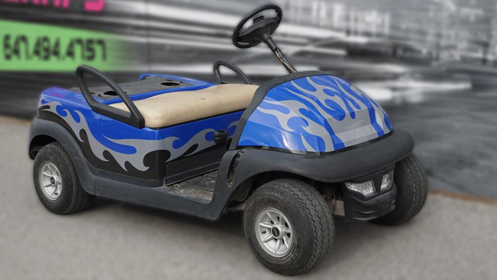 Clubcar - Golf Cart - Full Vinyl Wrap - Custom Design - VinylWrapToronto.com - Best Vehicle Wrap In Toronto - Avery Dennison - After - Fron Side