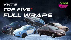 Top 5 Vinyl Wraps - Full Car Wrap - VinylWrapToronto.com - Colour Change - Best Vehicle Wrap In Toronto - Custom Vinyl Wrap cost