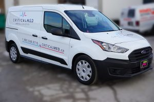 Ford Transit Connect Van Decals and Lettering - Critical Med Medical Logistics - Avery Dennison - Best Vehicle Wrap in Toronto - Front Side