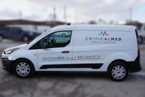 Ford Transit Connect Van Decals and Lettering - Critical Med Medical Logistics - Avery Dennison - Best Vehicle Wrap in Toronto - Side - Custom Car Wrap