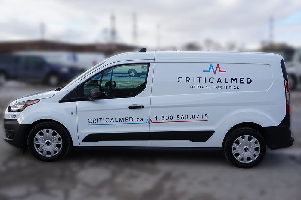 Ford Transit Connect Van Decals and Lettering - Critical Med Medical Logistics - Avery Dennison - Best Vehicle Wrap in Toronto - Side