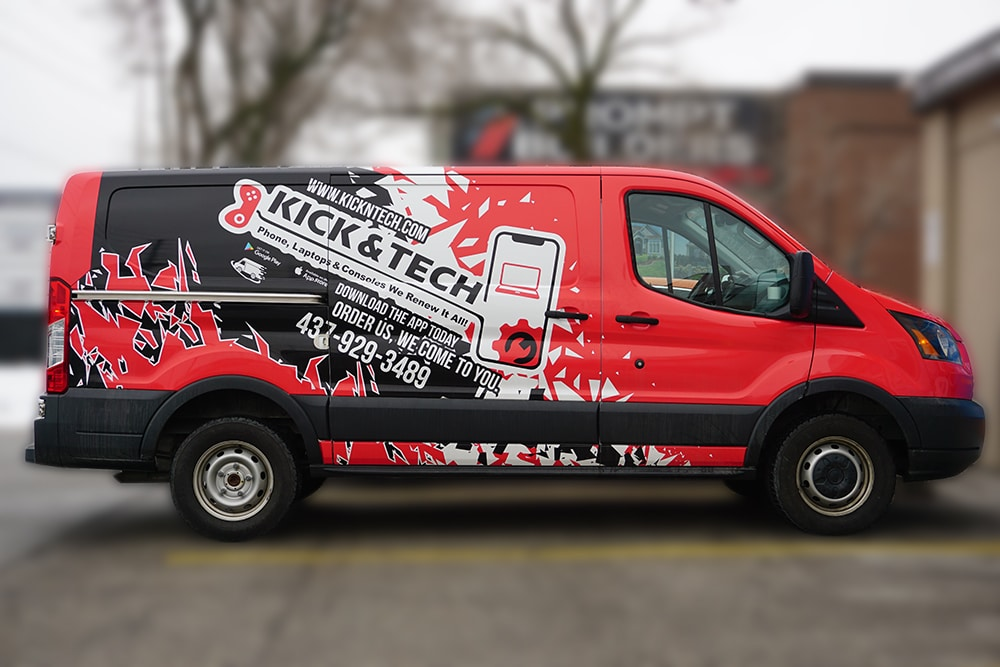 Ford Transit Wrap - Full Van Wrap - Kick & Tech - VinylWrapToronto.com - Vinyl Wrap Toronto - Custom Design - Avery Dennison - After - Side