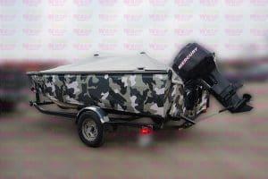 16 Foot 2007 Crestliner Boat - Full Boat Wrap - Custom Camouflage Vinyl Boat Wrap - VinylWrapToronto.com - Lettering & Decals - Best in GTA - Side Back