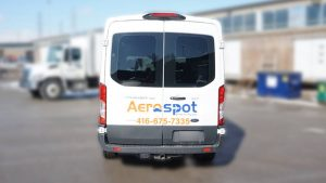 Ford Transit 2018 - Promotional Decals and Lettering - Aerospot - Parking Near Toronto Airport - Avery - Back