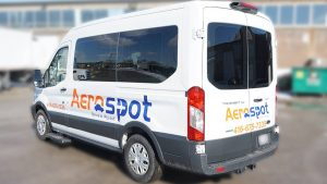 Ford Transit 2018 - Promotional Decals and Lettering - Aerospot - Parking Near Toronto Airport - Avery - Side Back