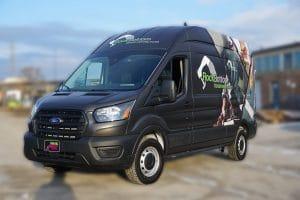 Ford Transit 250 High Roof - Full Van Wrap - VinylWrapToronto.com - RockBottom - After Side front - Commercial Vehicle Wrap Cost