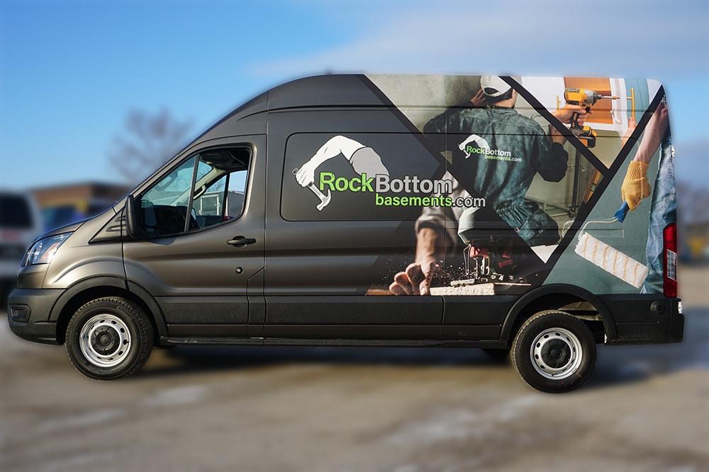 Ford Transit 250 High Roof - Commercial Full Van Wrap - vehicle wrap -VinylWrapToronto.com - RockBottom - After Side