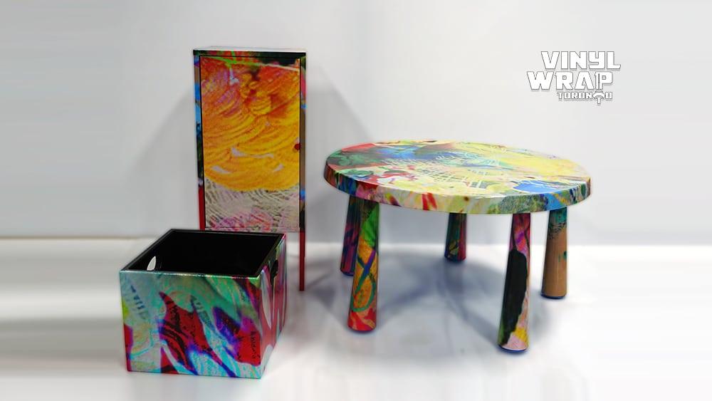 Rhozeland Artwork - Cabinet - Storage Box - Table - VinylWrapToronto.com - Object Wrap - Vinyl Wrap Toronto