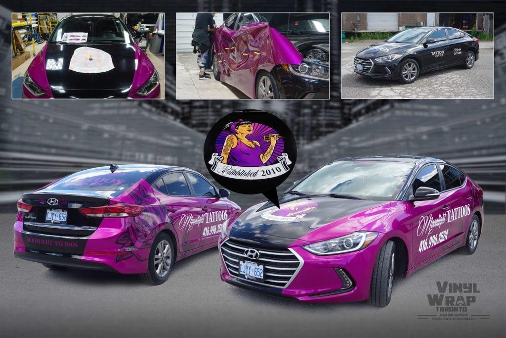 Partial Car Wrap - Hyundai Elantra – Moonlight Tattoos – Vinyl Wrap Toronto - Motorcycle Wrap - Tesla Wrap Toronto - Boat Wrap