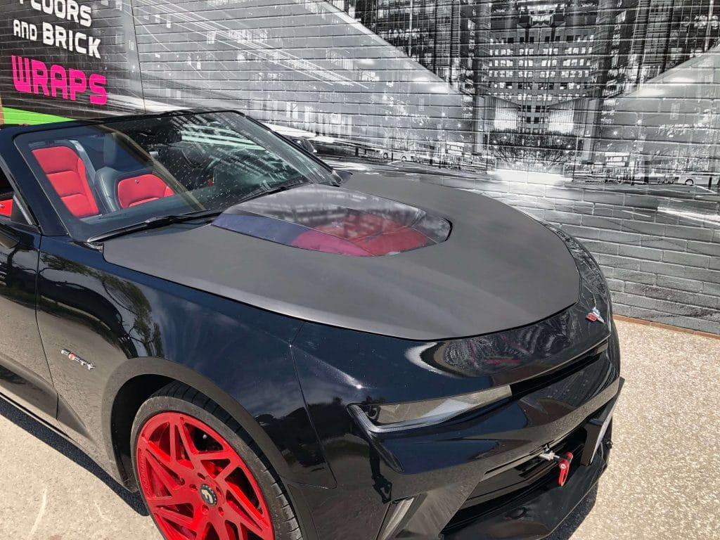 VinylWrapToronto Chevrolet Camaro Partial Hood Wrap Matte Black Avery Dennison - Car Branding