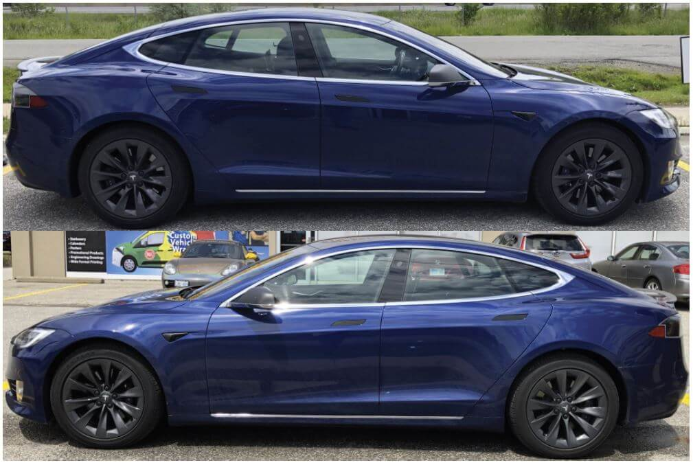 VinylWrapToronto Tesla Brushed Black Satin Partial Wrap Decals - Car Branding