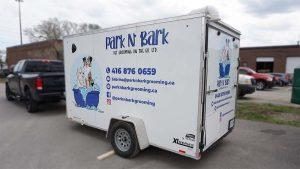Custom Decals - Park n Bark - Trailer - Driver Side Back Angle