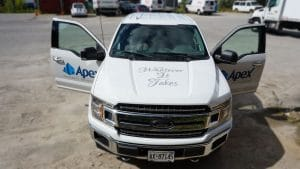 Transform your pickup truck with decals - Apex Construction - Front Side - After