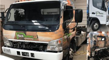 Vinyl Wrap Toronto Mitsubishi Fuso 2019 Avery Dennison White Truck Full Rock Bottom Collage
