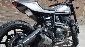 Vinyl Wrap Toronto Ducatti Scrambler 2017 Avery Dennison Black Motorcycle Full Rear