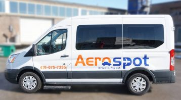Ford Transit 2018 - Commercial Decals and Lettering - Aerospot - Parking Near Toronto Airport - Avery - Side