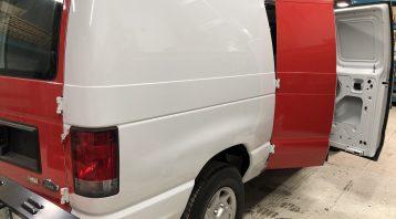Vinyl Wrap Toronto Ford E150 2014 Removal Red White Van Before Side - Vinyl Remove