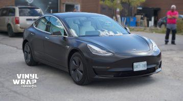 Tesla Model 3 2020 - Personal - Full Wrap - Vinyl Wrap Toronto - Car Wrap in GTA - Avery Dennison - 3M - Satin Black - Avery and 3M vinyl wraps
