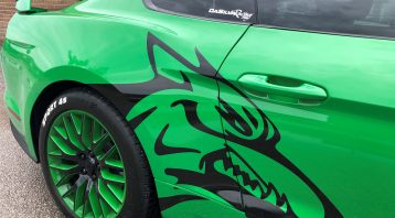 Vinyl Wrap Toronto Ford Mustang Coyote Green Decals Side After Close - Coyote Head Decals