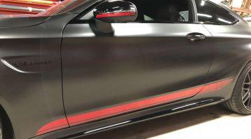 Vinyl Wrap Toronto Merc C63S 2020 Red Racing Stripes