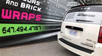 Vinyl Wrap Toronto Ram Caravan 2018 Avery Dennison White Van Decals Surgically Clean Air Rear