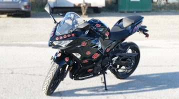 Motorcycle Naruto Decals Kawasaki Ninja 400 - VinylWrapToronto.com - Vehicle Wrap in GTA - Avery Dennison - 3M - Front Side